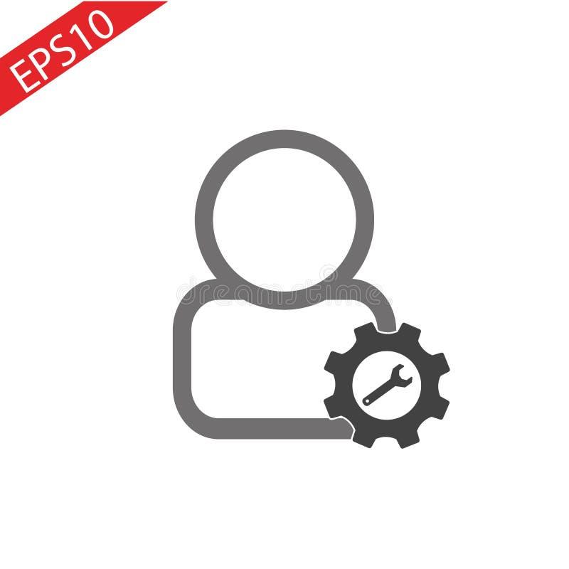 Vecteur d'icône de personne plus le symbole pour le nouvel avatar masculin de profil d'utilisateur Add dans l'illustration plate  illustration stock