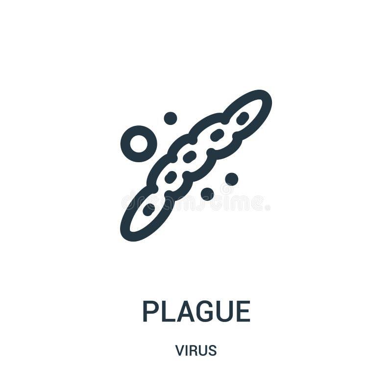 vecteur d'icône de peste de collection de virus Ligne mince illustration de vecteur d'icône d'ensemble de peste illustration stock
