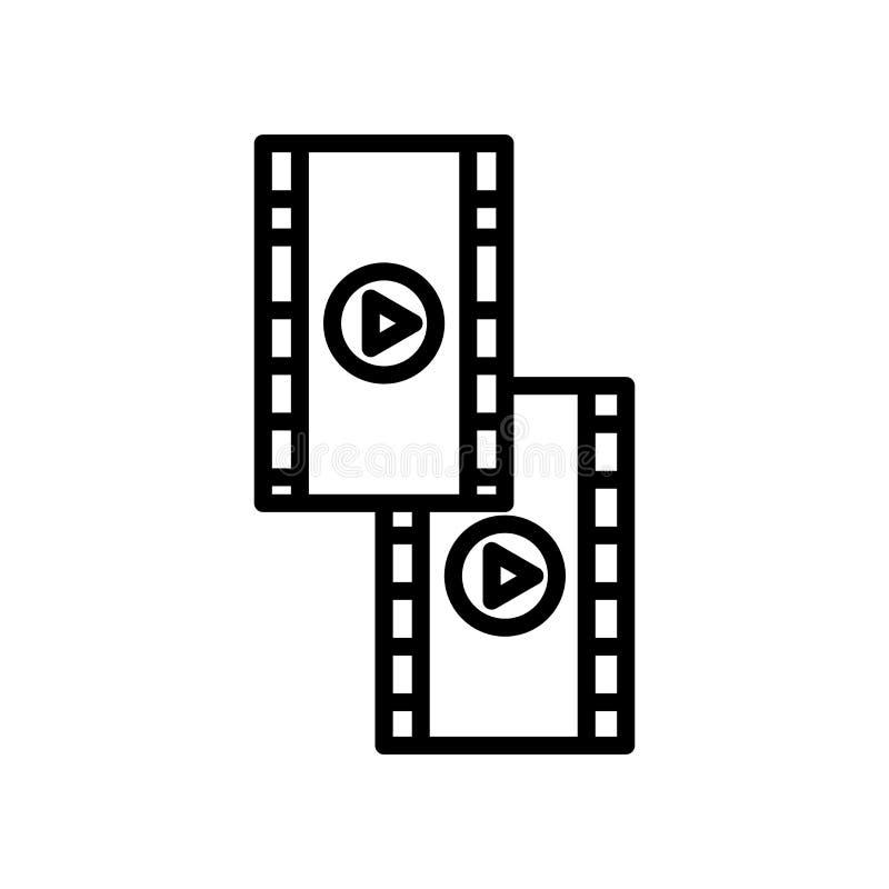 Vecteur d'icône de petit pain de film d'isolement sur le signe blanc de fond, de petit pain de film, la ligne et les éléments d'e illustration libre de droits