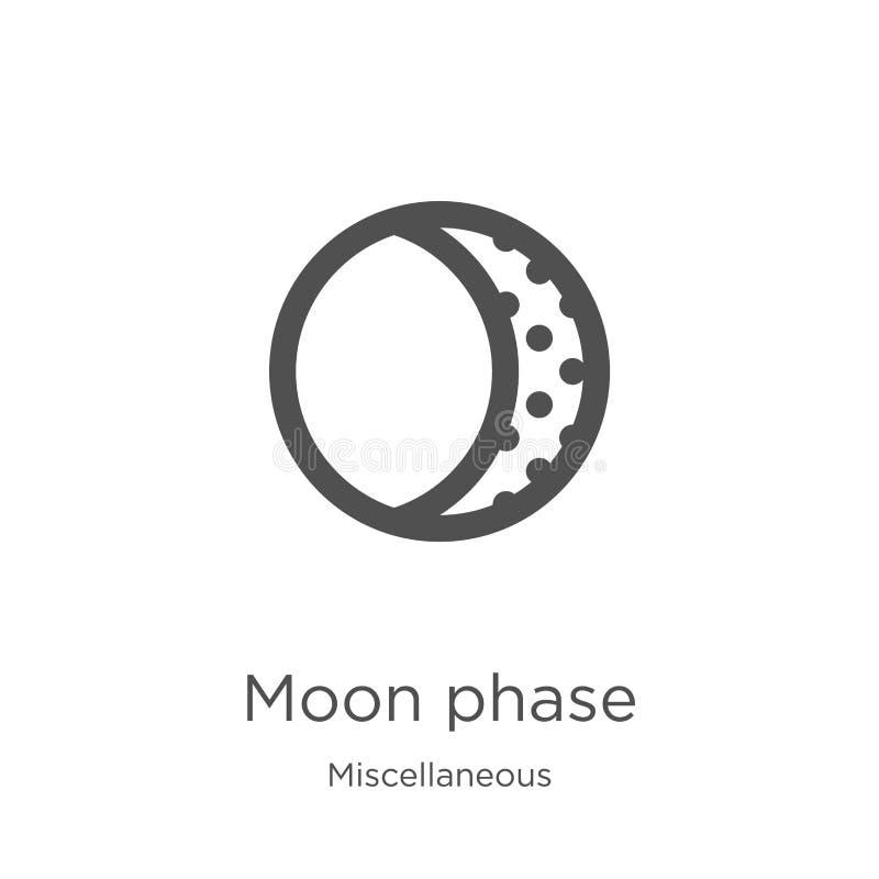 vecteur d'icône de phase de lune de la collection diverse Ligne mince illustration de vecteur d'icône d'ensemble de phase de lune illustration de vecteur