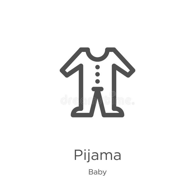 vecteur d'icône de pijama de collection de bébé Ligne mince illustration de vecteur d'icône d'ensemble de pijama Contour, ligne m illustration de vecteur