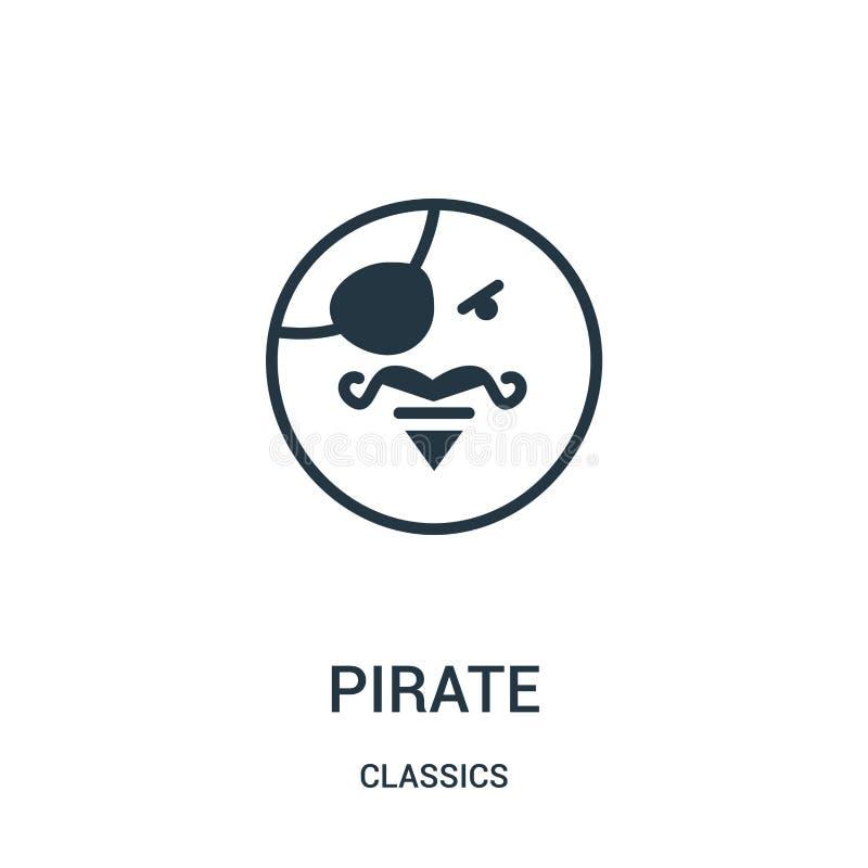 vecteur d'icône de pirate de collection de classiques Ligne mince illustration de vecteur d'icône d'ensemble de pirate Symbole li illustration libre de droits