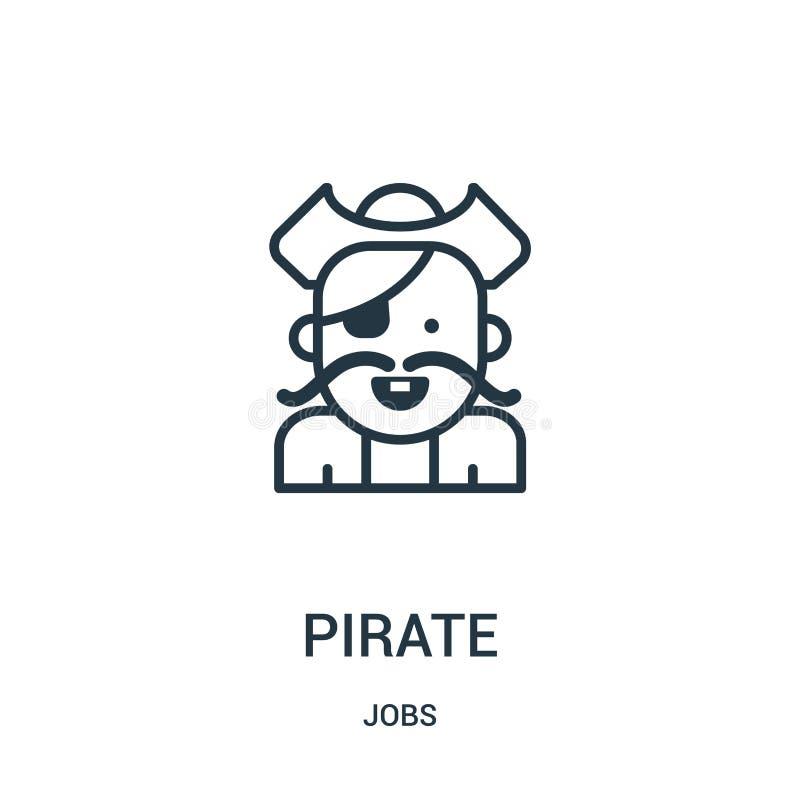 vecteur d'icône de pirate de collection des travaux Ligne mince illustration de vecteur d'icône d'ensemble de pirate Symbole liné illustration libre de droits