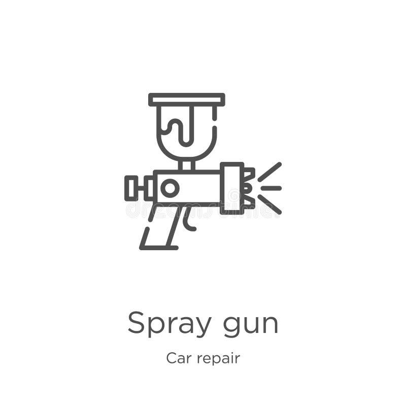 vecteur d'icône de pistolet de pulvérisation de collection de réparation de voiture Ligne mince illustration de vecteur d'icône d illustration de vecteur
