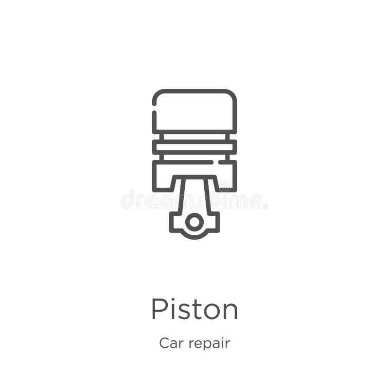 vecteur d'icône de piston de collection de réparation de voiture Ligne mince illustration de vecteur d'ic?ne d'ensemble de piston illustration libre de droits