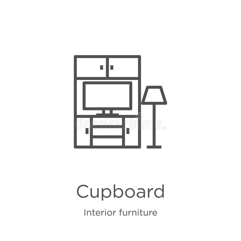 vecteur d'icône de placard de la collection intérieure de meubles Ligne mince illustration de vecteur d'icône d'ensemble de placa illustration de vecteur