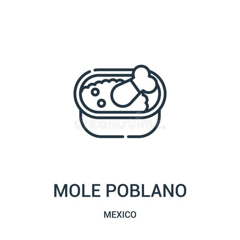 vecteur d'icône de poblano de taupe de collection du Mexique Ligne mince illustration de vecteur d'icône d'ensemble de poblano de illustration de vecteur