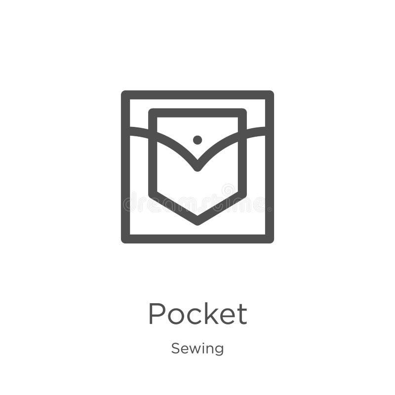 vecteur d'icône de poche de la collection de couture Ligne mince illustration de vecteur d'icône d'ensemble de poche Contour, lig illustration stock