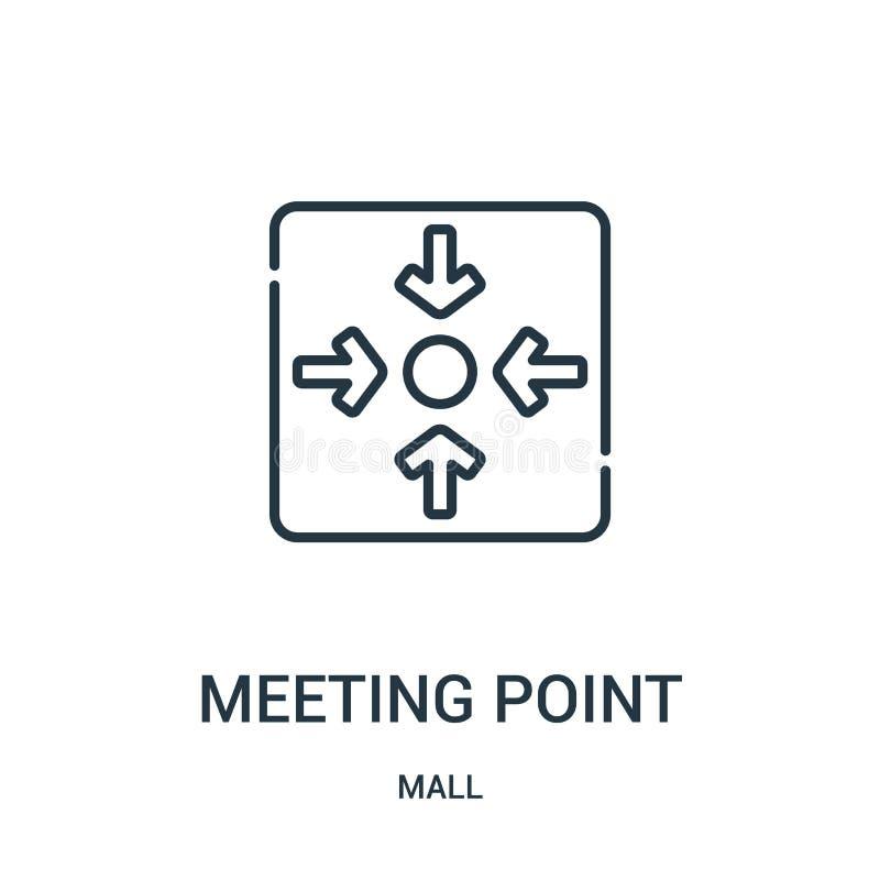 vecteur d'icône de point de rencontre de collection de mail Ligne mince illustration de vecteur d'icône d'ensemble de point de re illustration de vecteur
