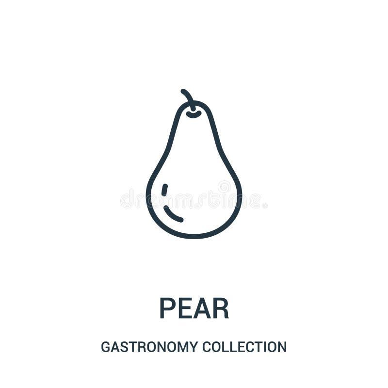 vecteur d'icône de poire de collection de collection de gastronomie Ligne mince illustration de vecteur d'icône d'ensemble de poi illustration de vecteur