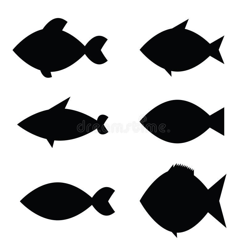 Vecteur d'icône de poissons dans la couleur noire illustration de vecteur