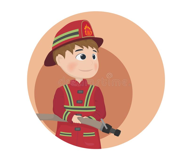 Vecteur d'icône de pompier Illustrations de personnage de dessin animé illustration stock