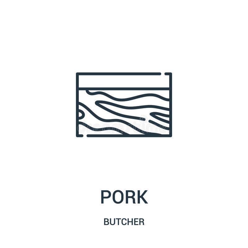 vecteur d'icône de porc de collection de boucher Ligne mince illustration de vecteur d'icône d'ensemble de porc Symbole linéaire  illustration libre de droits