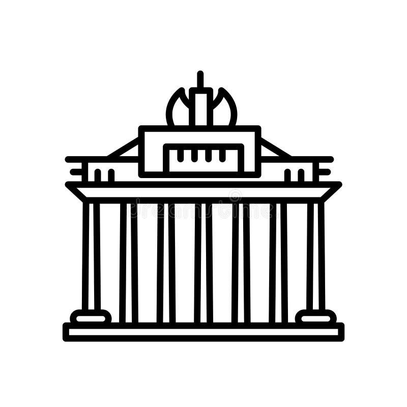 Vecteur d'icône de Porte de Brandebourg d'isolement sur le fond blanc, le signe de Porte de Brandebourg, la ligne ou le signe lin illustration libre de droits