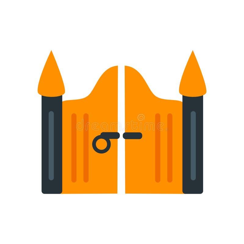 Vecteur d'icône de porte d'isolement sur le fond blanc, signe de porte, couleur illustration libre de droits