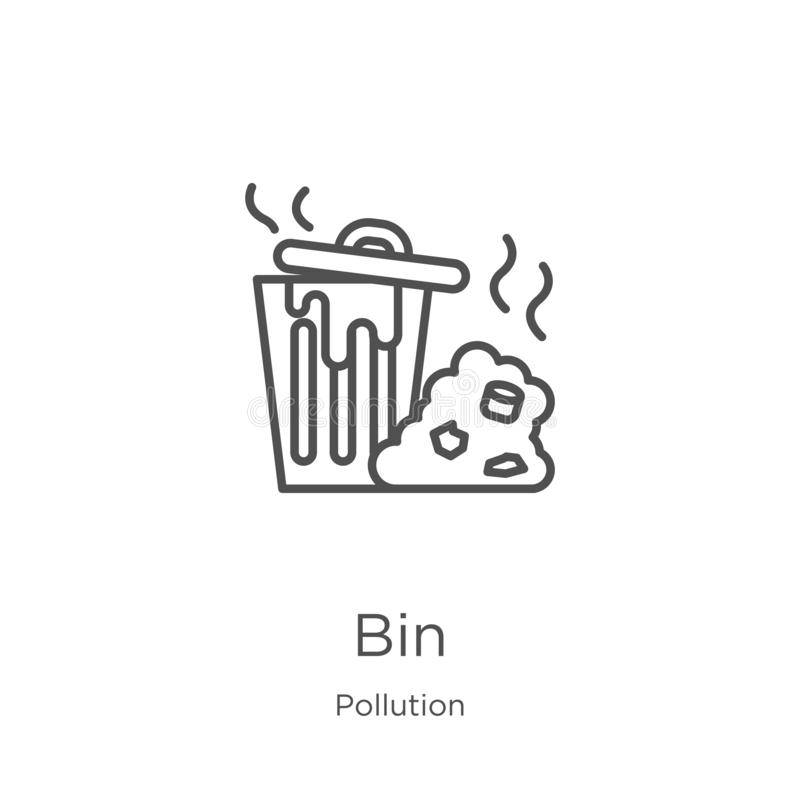 vecteur d'icône de poubelle de collection de pollution Ligne mince illustration de vecteur d'ic?ne d'ensemble de poubelle Contour illustration de vecteur