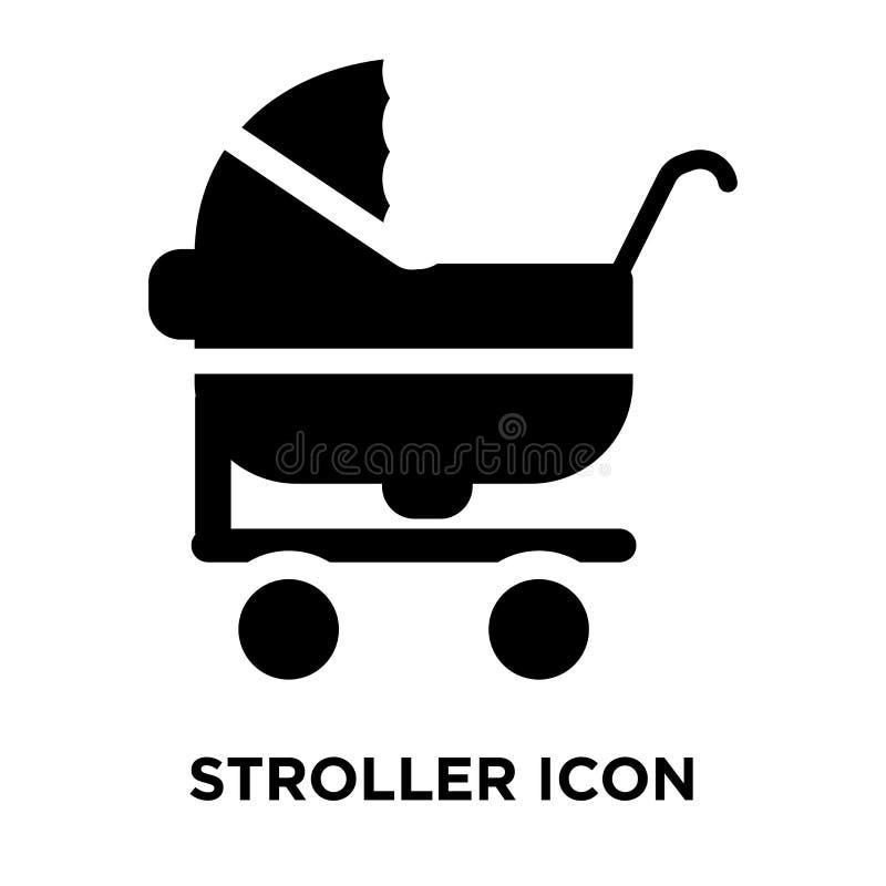 Vecteur d'icône de poussette d'isolement sur le fond blanc, concept de logo illustration stock