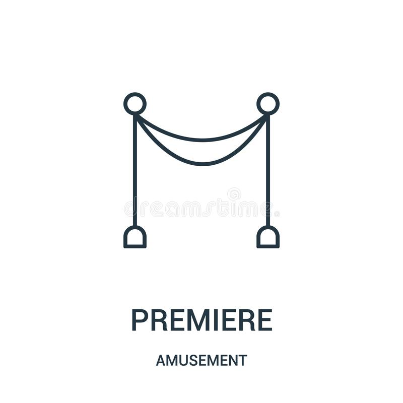 vecteur d'icône de première de collection d'amusement Ligne mince illustration de vecteur d'icône d'ensemble de première illustration stock