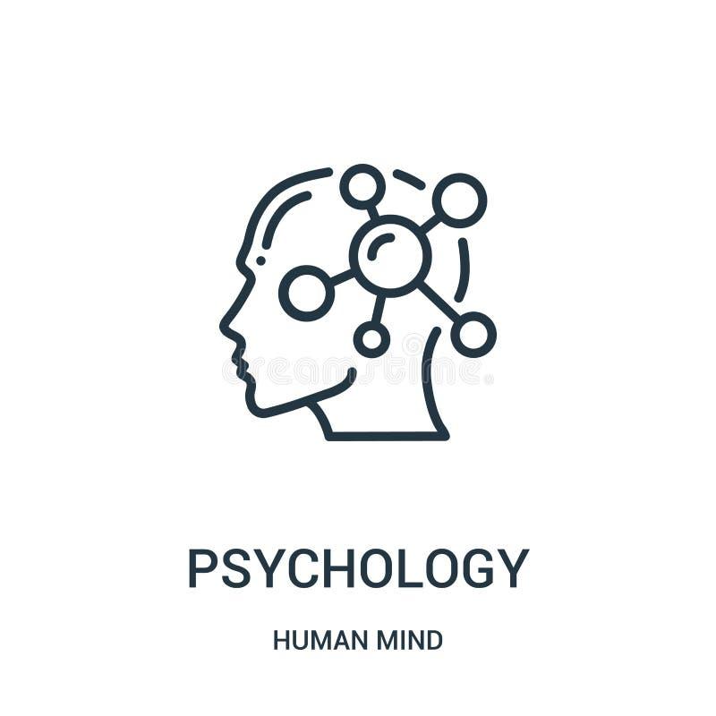 vecteur d'icône de psychologie de collection d'esprit humain Ligne mince illustration de vecteur d'icône d'ensemble de psychologi illustration stock