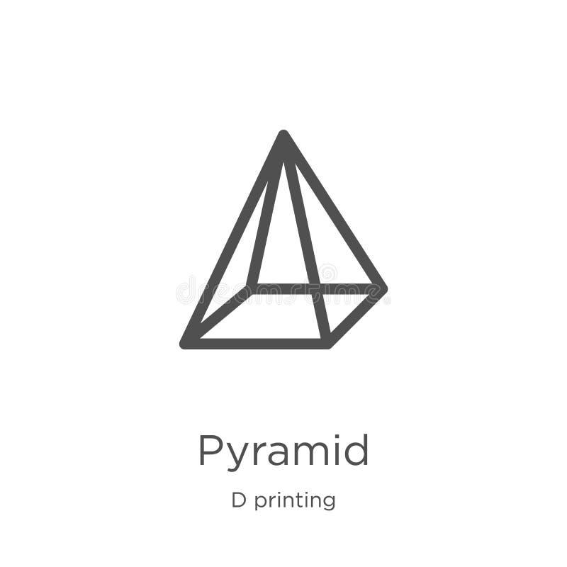 vecteur d'icône de pyramide de collection d'impression de d Ligne mince illustration de vecteur d'ic?ne d'ensemble de pyramide Co illustration de vecteur