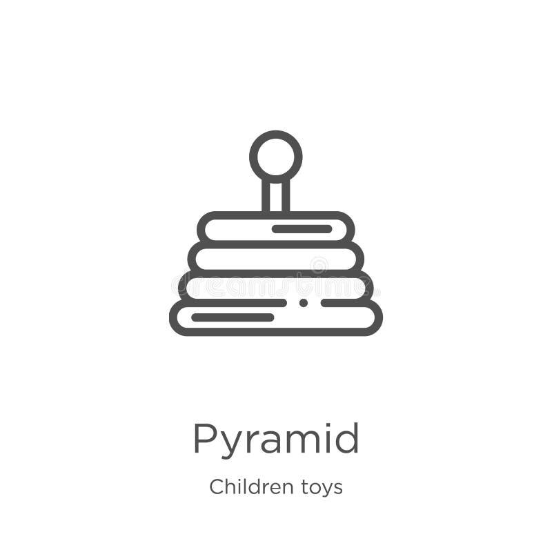 vecteur d'icône de pyramide de collection de jouets d'enfants Ligne mince illustration de vecteur d'ic?ne d'ensemble de pyramide  illustration libre de droits