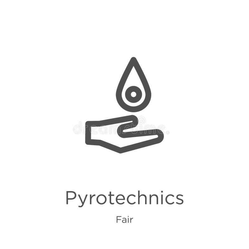 vecteur d'icône de pyrotechnie de la collection juste Ligne mince illustration de vecteur d'icône d'ensemble de pyrotechnie Conto illustration libre de droits