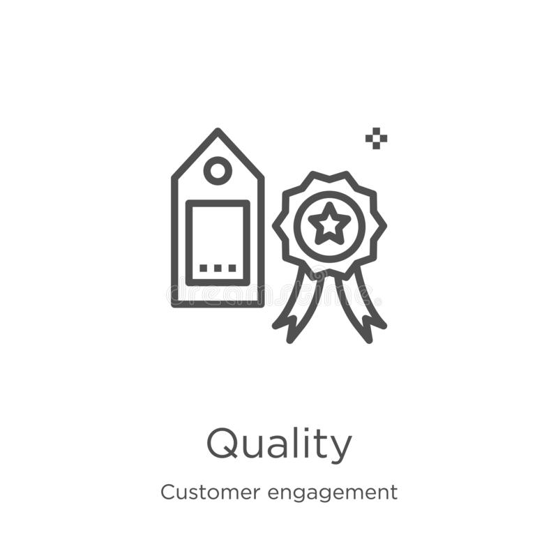vecteur d'icône de qualité de collection d'engagement de client Ligne mince illustration de vecteur d'icône d'ensemble de qualité illustration libre de droits