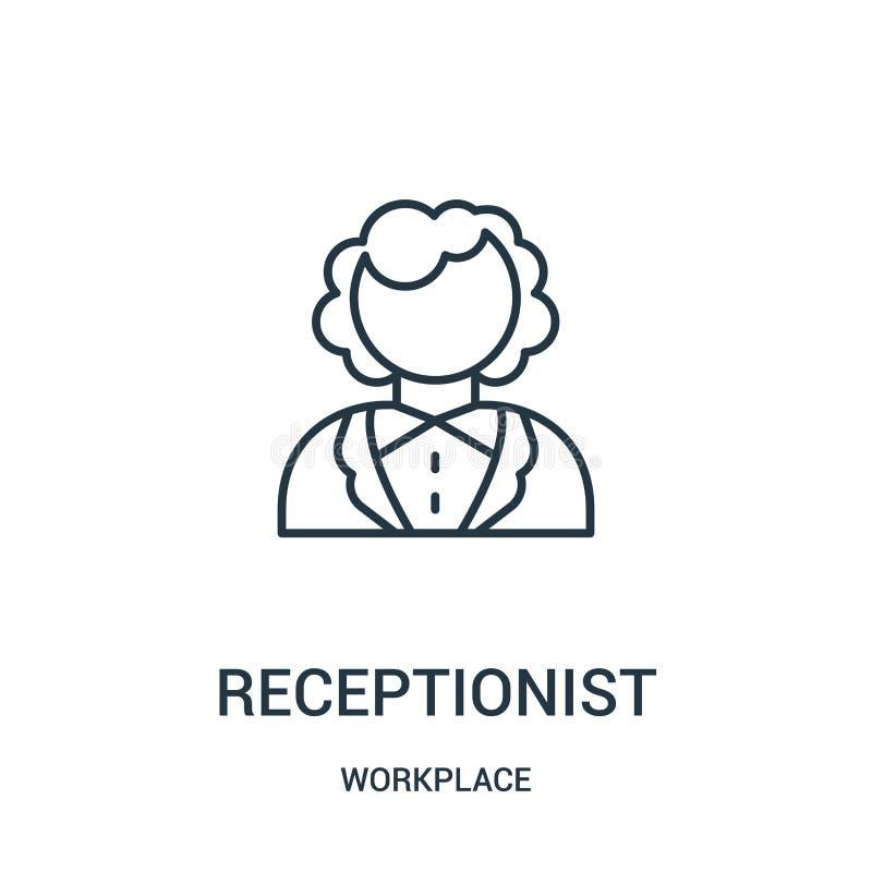 vecteur d'icône de réceptionniste de collection de lieu de travail Ligne mince illustration de vecteur d'icône d'ensemble de réce illustration de vecteur