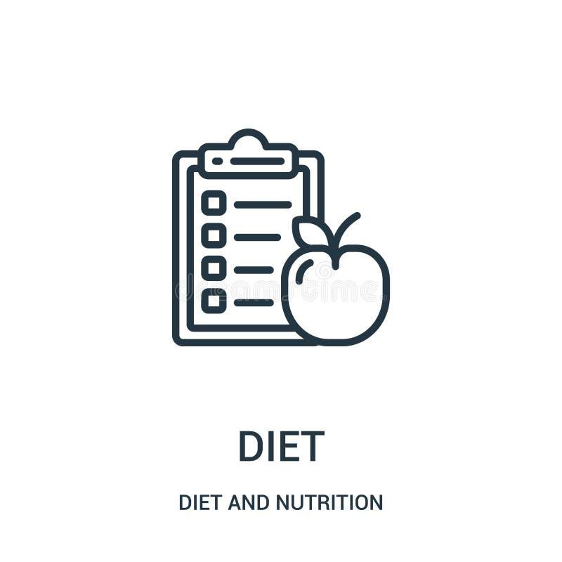 vecteur d'icône de régime de collection de régime et de nutrition Ligne mince illustration de vecteur d'icône d'ensemble de régim illustration de vecteur