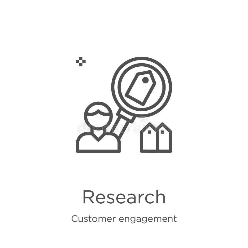 vecteur d'icône de recherches de collection d'engagement de client Ligne mince illustration de vecteur d'icône d'ensemble de rech illustration libre de droits