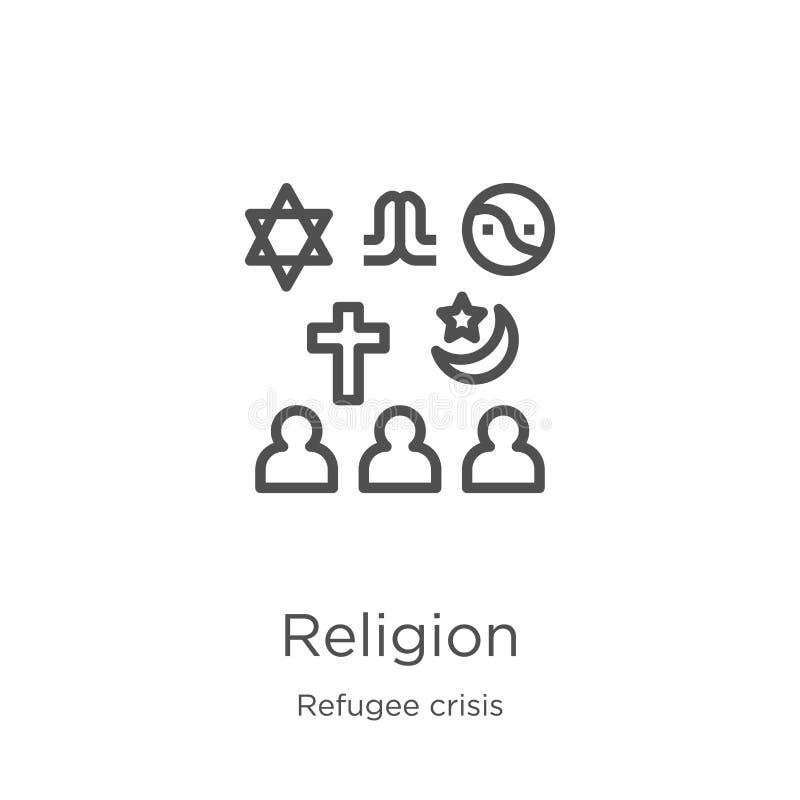 vecteur d'icône de religion de collection de crise de réfugié Ligne mince illustration de vecteur d'icône d'ensemble de religion  illustration libre de droits