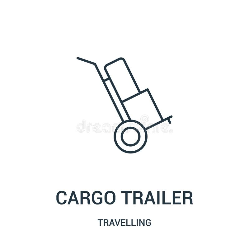 vecteur d'icône de remorque de cargaison de la collection de déplacement Ligne mince illustration de vecteur d'icône d'ensemble d illustration libre de droits