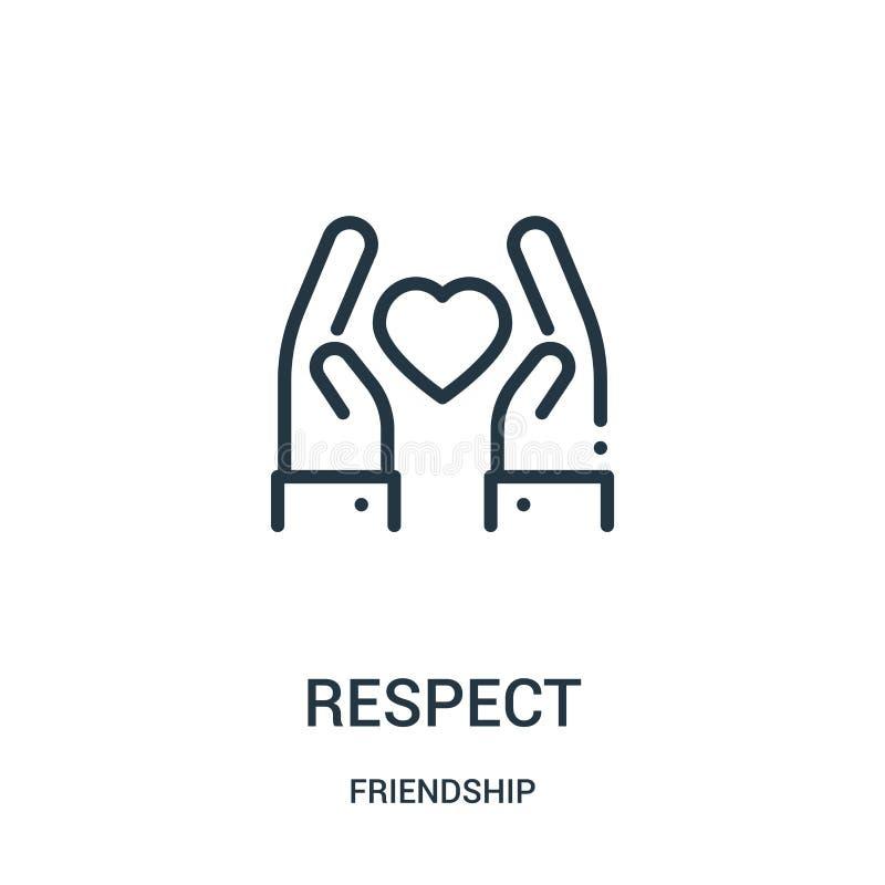vecteur d'icône de respect de collection d'amitié Ligne mince illustration de vecteur d'icône d'ensemble de respect Symbole linéa illustration de vecteur