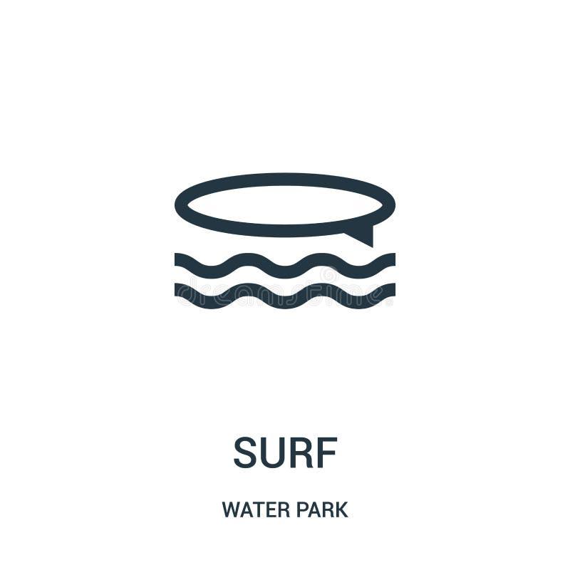 vecteur d'icône de ressac de collection de parc aquatique Ligne mince illustration de vecteur d'icône d'ensemble de ressac Symbol illustration stock