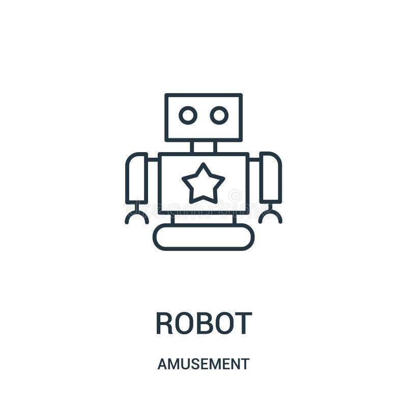 vecteur d'icône de robot de collection d'amusement Ligne mince illustration de vecteur d'ic?ne d'ensemble de robot illustration stock