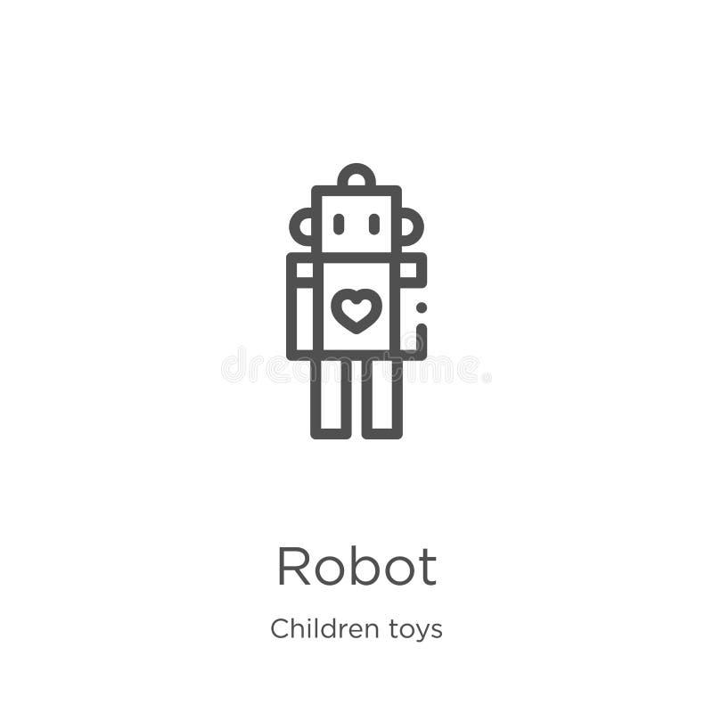 vecteur d'icône de robot de collection de jouets d'enfants Ligne mince illustration de vecteur d'icône d'ensemble de robot Contou illustration stock