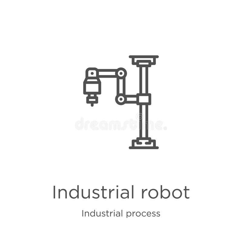 vecteur d'icône de robot industriel de collection de processus industriel Ligne mince illustration de vecteur d'icône d'ensemble  illustration libre de droits