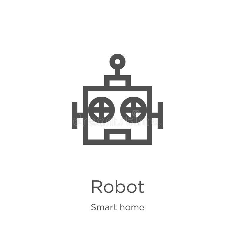 vecteur d'icône de robot de la collection à la maison futée Ligne mince illustration de vecteur d'ic?ne d'ensemble de robot Conto illustration stock