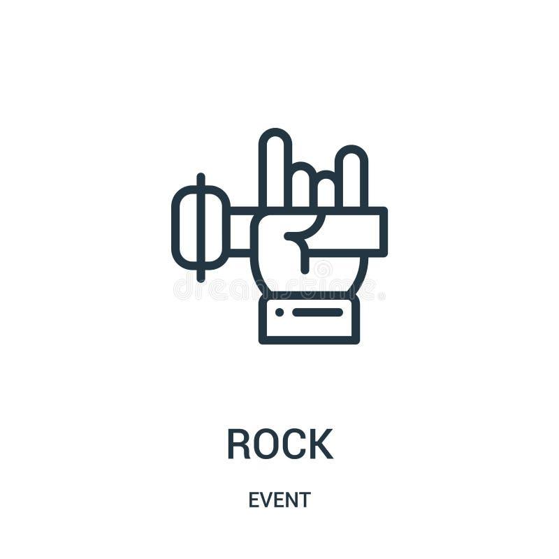 vecteur d'icône de roche de collection d'événement Ligne mince illustration de vecteur d'ic?ne d'ensemble de roche illustration de vecteur