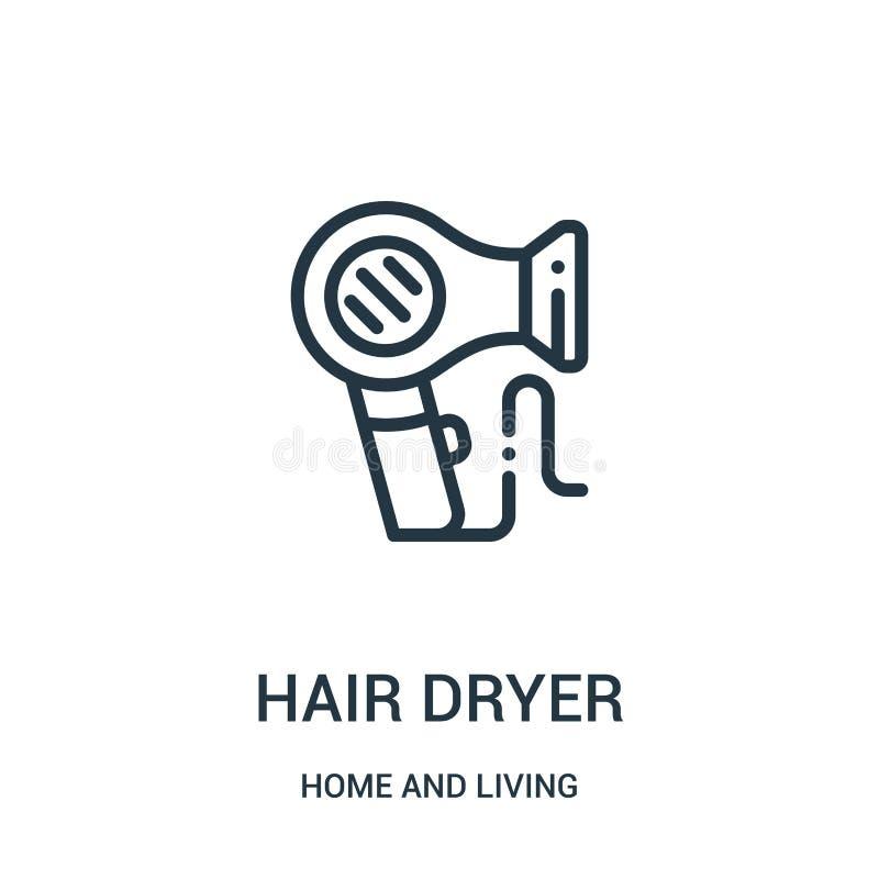 vecteur d'icône de sèche-cheveux de maison et de collection vivante Ligne mince illustration de vecteur d'icône d'ensemble de sèc illustration libre de droits