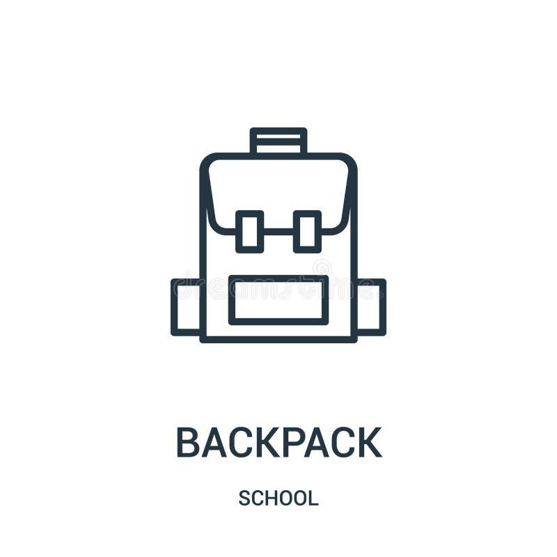 vecteur d'icône de sac à dos de collection d'école Ligne mince illustration de vecteur d'icône d'ensemble de sac à dos Symbole li illustration libre de droits