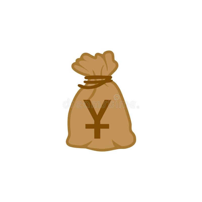 Vecteur d'icône de sac d'argent de devise supérieure Yuan China du monde illustration de vecteur