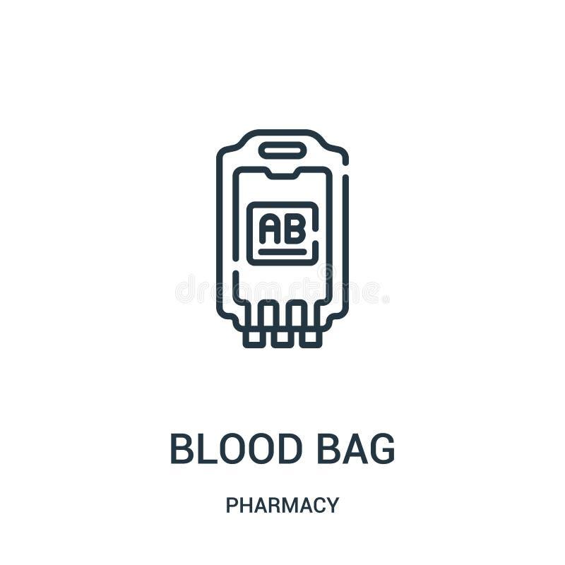 vecteur d'icône de sac de sang de collection de pharmacie Ligne mince illustration de vecteur d'icône d'ensemble de sac de sang illustration stock