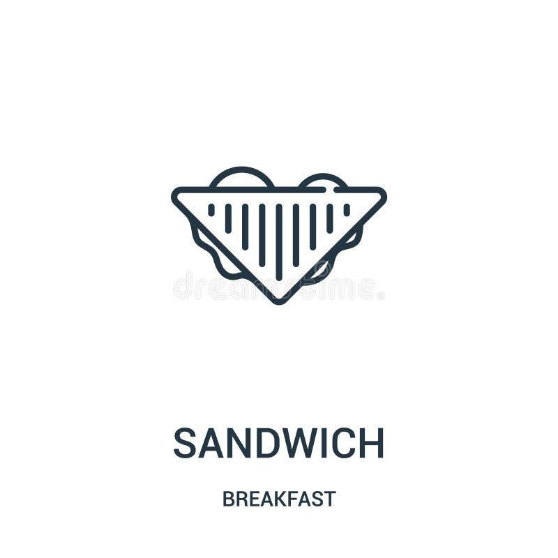 vecteur d'icône de sandwich de collection de petit déjeuner Ligne mince illustration de vecteur d'icône d'ensemble de sandwich Sy illustration stock