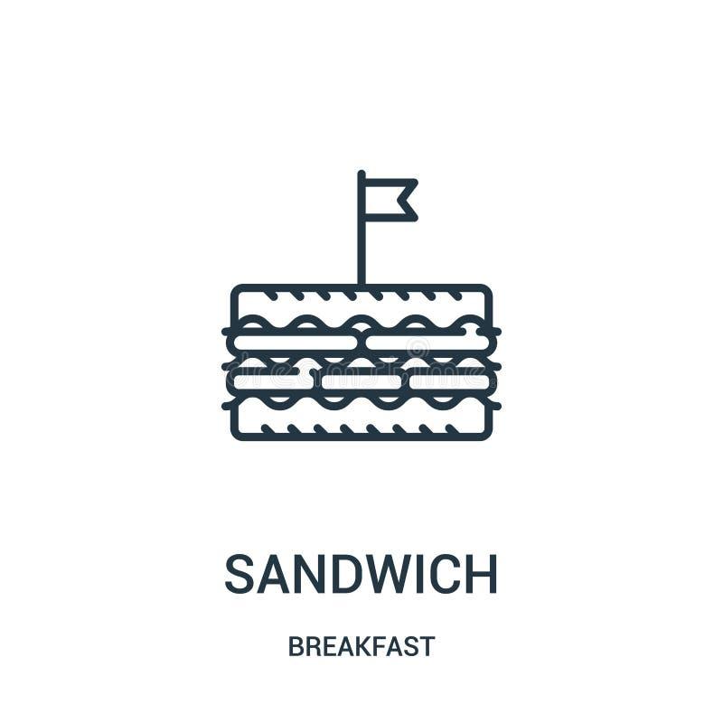 vecteur d'icône de sandwich de collection de petit déjeuner Ligne mince illustration de vecteur d'icône d'ensemble de sandwich Sy illustration de vecteur