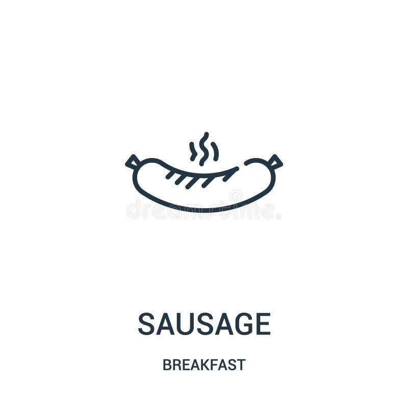 vecteur d'icône de saucisse de collection de petit déjeuner Ligne mince illustration de vecteur d'icône d'ensemble de saucisse Sy illustration de vecteur