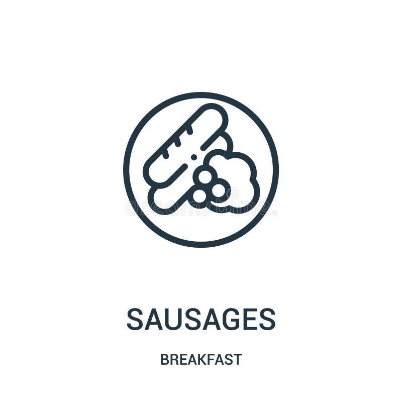 vecteur d'icône de saucisses de collection de petit déjeuner Ligne mince illustration de vecteur d'icône d'ensemble de saucisses illustration libre de droits