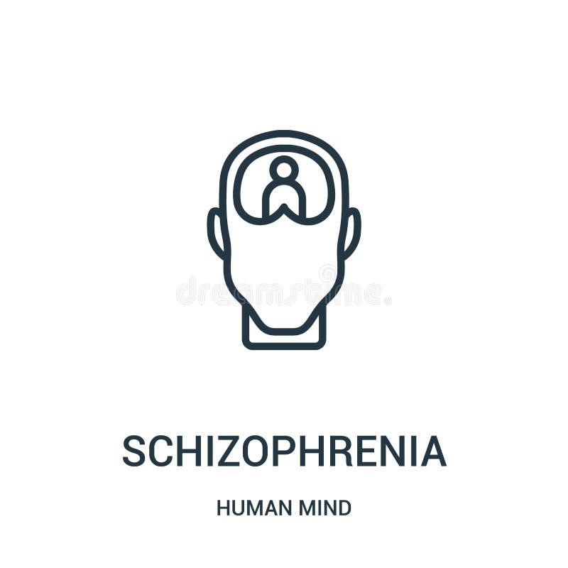 vecteur d'icône de schizophrénie de collection d'esprit humain Ligne mince illustration de vecteur d'icône d'ensemble de schizoph illustration de vecteur