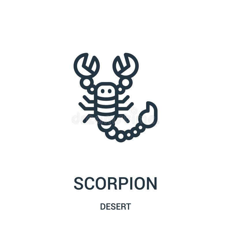 vecteur d'icône de scorpion de collection de désert Ligne mince illustration de vecteur d'icône d'ensemble de scorpion Symbole li illustration stock
