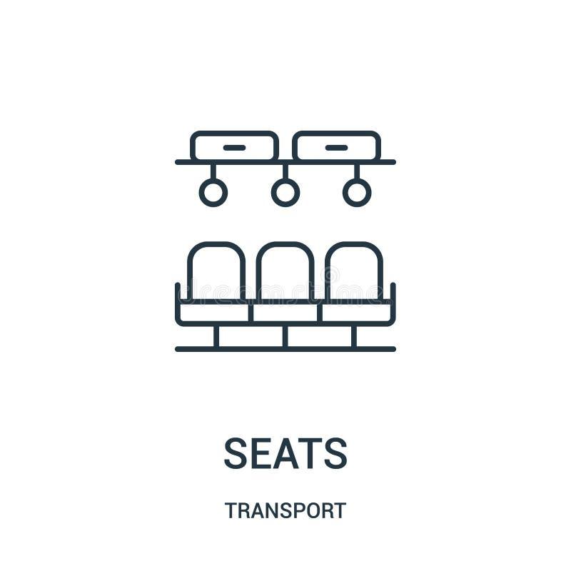 vecteur d'icône de sièges de collection de transport Ligne mince illustration de vecteur d'ic?ne d'ensemble de si?ges illustration de vecteur